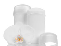 Trockene desodorierende Mittel für Underarms und die Orchideenblume lokalisiert auf Weiß Lizenzfreies Stockbild