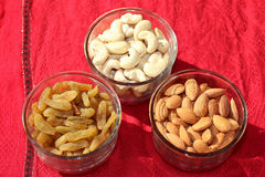 Trockene Früchte Mandel, Acajoubaum und Rosine Lizenzfreies Stockfoto