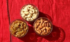 Trockene Früchte Mandel, Acajoubaum und Rosine Stockfotos