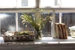 Trockene Kamille blüht in einem Vase auf einem Fensterbrett mit Bücher Stockfoto