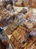 Trockene Meeresfrüchte, salzige Meeresfrüchte Stockfotos