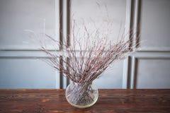 Trockene Niederlassungen in einem transparenten Vase auf einem Holztisch, grauer Hintergrund lizenzfreies stockbild