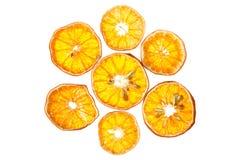 Trockene orange Scheiben lokalisiert Lizenzfreies Stockfoto