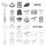 Trockene Reinigungsanlage monochrom Ikonen in gesetzter Sammlung für Entwurf Das Waschen und das Bügeln kleidet Vektorsymbol-Vorr stock abbildung