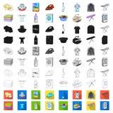 Trockene Reinigungsanlagekarikaturikonen in der Satzsammlung für Design Das Waschen und das Bügeln kleidet Vektorsymbol-Vorratnet lizenzfreie abbildung