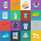 Trockene Reinigungsanlagekarikaturikonen in der Satzsammlung für Design Das Waschen und das Bügeln kleidet Vektorsymbol-Vorratnet stock abbildung