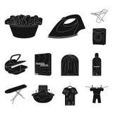 Trockene Reinigungsanlageschwarzikonen in der Satzsammlung für Design Das Waschen und das Bügeln kleidet Vektorsymbol-Vorratnetz lizenzfreie abbildung