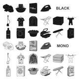 Trockene Reinigungsanlageschwarzikonen in der Satzsammlung für Design Das Waschen und das Bügeln kleidet Vektorsymbol-Vorratnetz stock abbildung