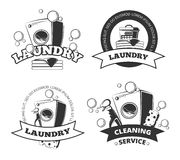 Trockene saubere Vektoraufkleber des Weinlese-Wäsche-Service, Embleme, Logos, Ausweise eingestellt vektor abbildung