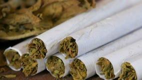 Trockene Tabakblätter nahe bei den selbst gemachten Zigaretten oder Rolle-oben angefüllt mit gehacktem Tabak stock footage