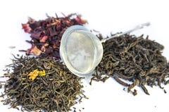 Trockener schwarzer, roter und grüner Tee Lizenzfreie Stockfotos