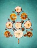 Trockener Winter trägt Weihnachtsbaum auf blauem Hintergrund Früchte Stockbild