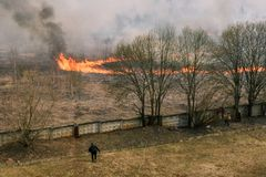 Trockenes Gras der Brandstiftung E r Leute betrachten das Feuer lizenzfreie stockfotografie