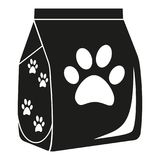 Trockenes Katzenfuttertaschenschwarzweiss-schattenbild Lizenzfreies Stockfoto