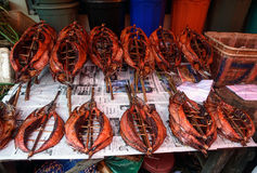 Trockenfisch auf traditionellem Markt Tomohon Lizenzfreie Stockfotografie