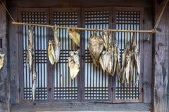 Trockenfisch bei Dae Jang Geum Park oder koreanisches historisches Drama in Korea stockfotografie