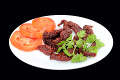 Trockenfleisch vom Rind Thailand Schwarzweiss lizenzfreie stockbilder