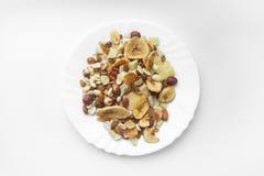 Trockenfrüchte nuts auf einer Platte stockfoto