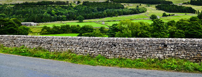 Trockenmauer in den Yorkshire-Tälern Stockfotos
