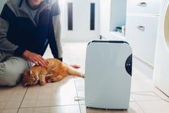 Trockenmittel mit Fingerspitzentablett, Feuchtigkeitsanzeiger, UVlampe, Luft ionizer, Wasserbehälter arbeitet zu Hause Trockner stockbild