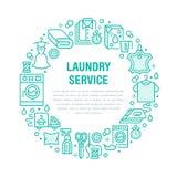 Trockenreinigung, Fahnenillustration mit blauer flacher Linie Ikonen Wäsche-Service-Ausrüstungswaschmaschinen-Kleidungsleder stock abbildung