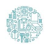 Trockenreinigung, Fahnenillustration mit flacher Linie Ikonen Wäsche-Service-Ausrüstung, Waschmaschine, Kleidungsschuh stock abbildung