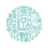 Trockenreinigung, Fahnenillustration mit flacher Linie Ikonen Wäsche-Service-Ausrüstung, Waschmaschine, Kleidungsschuh vektor abbildung