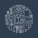 Trockenreinigung, Fahnenillustration mit flacher Linie Ikonen Wäsche-Service-Ausrüstung, Waschmaschine, Kleidungsschuh lizenzfreie abbildung