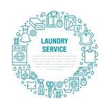 Trockenreinigung, Fahnenillustration mit flacher Linie Ikonen Wäsche-Service-Ausrüstung, Waschmaschinenkleidungs-Schuhleder stock abbildung