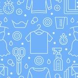 Trockenreinigung, nahtloses Muster des Wäschereiblaus mit flacher Linie Ikonen Waschautomatservice-Ausrüstung, Kleidungsreparatur vektor abbildung