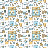 Trockenreinigung, nahtloses Muster des Wäschereiblaus mit flacher Linie Ikonen Waschautomatservice-Ausrüstung, Waschmaschine vektor abbildung