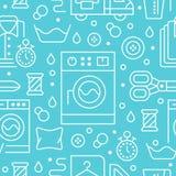 Trockenreinigung, nahtloses Muster des Wäschereiblaus mit Linie Ikonen Waschautomatservice-Ausrüstung, Waschmaschine, Kleidung stock abbildung