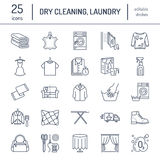 Trockenreinigung, Wäscheleineikonen Waschsalonservice-Ausrüstung, Waschmaschine, Kleidungsschuh und leaher Reparatur lizenzfreie abbildung