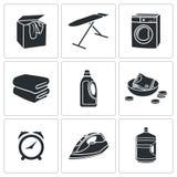 Trockenreinigungs-Wäscherei-Vektor-Ikonen eingestellt Stockbild