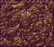 Trocknen Sie Blätter einer Anlage auf dem alten befleckten grungy Papier Königliches Gold des Vektors und purpurrotes Muster Stockfoto