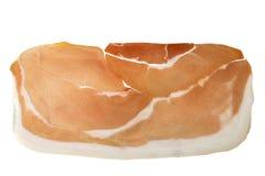 Trocknen Sie kuriertes geräuchertes Schweinefleisch Ham Prosciutto Slice Isolated Lizenzfreie Stockfotos