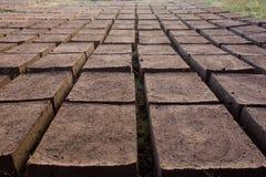 Trocknende Ziegelsteine des luftgetrockneten Ziegelsteines Lizenzfreies Stockbild