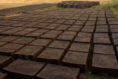 Trocknende Ziegelsteine des luftgetrockneten Ziegelsteines Stockbild