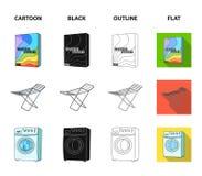 Trockner, Waschmaschine, saubere Kleidung, Bleichmittel Gesetzte Sammlungsikonen der Trockenreinigung in der Karikatur, Schwarzes Lizenzfreies Stockfoto