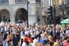 Troefprotest maart Londen, 13 Juli, 2018: anti-Donald Troefaanplakbiljetten Stock Foto