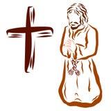 Troendet ber till guden på hans knä, korset, kläder av gammal tid stock illustrationer