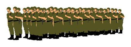 Troep van militairenvorming, Groetende legermilitair ` s vector illustratie