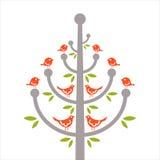 Troep van vogels op een boom royalty-vrije illustratie