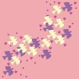 Troep van vogels op een roze achtergrond Stock Fotografie