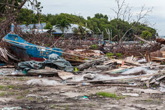 Troepplaats die op ramp zoals tsunami, aardbeving, tornado of tyfoon wijzen Royalty-vrije Stock Afbeelding