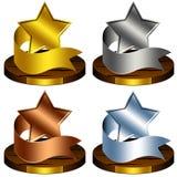 trofé för belöningbandstjärnor Arkivfoto