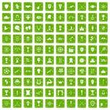 100 trofé och gräsplan för grunge för utmärkelsesymboler fastställd Fotografering för Bildbyråer