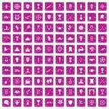 100 trofé och rosa färger för grunge för utmärkelsesymboler fastställda Fotografering för Bildbyråer