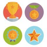 Trofé och utmärkelser i plan designstil Royaltyfri Foto