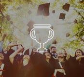 Trofébelöningpris Victory Success Achievement Concept Arkivfoton